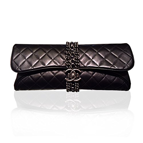 [CHANEL] 2015P Coco Boy Black Lambskin Clutch Bag
