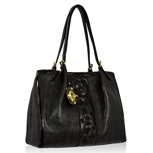Valentino Orlandi Italian Designer Embroidered Black Nappa Leather Tote Bag