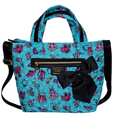 Betsey Johnson Nylon Tote Satchel Purse Shoulder Bag Handbag Turquoise