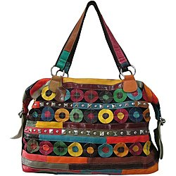 Amerileather Quincy Multicolor Leather Double-handle Tote Bag