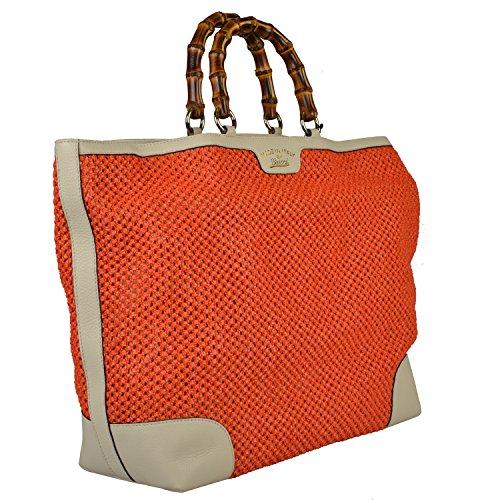 Gucci Women's Orange Knitted Leather Trimmed Tote Handbag Bag