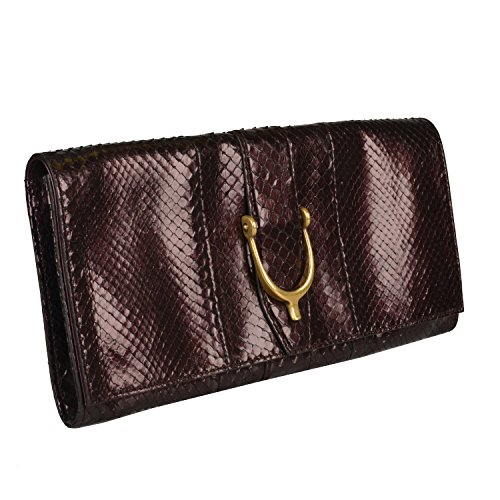 Gucci Women's Deep Vine Red Python Skin Clutch Handbag Bag