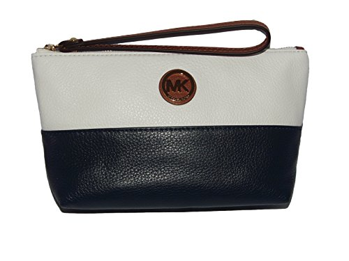 Michael Kors Leather Fulton Wristlet/Pouch/Clutch – Navy, White, & Luggage