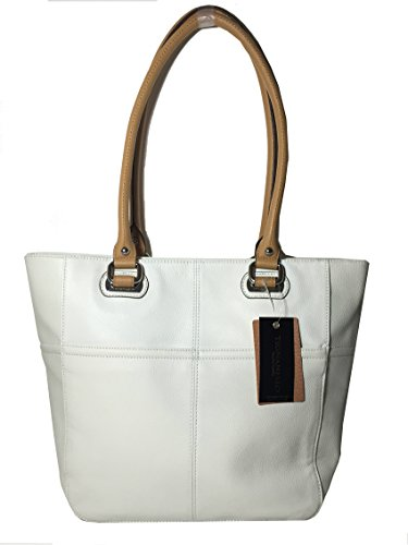 Tignanello Perfect Pocket Genuine Pebble Leather Tote White/honey
