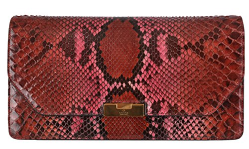 Gucci Women's 338969 Ombre Pink Python Snake Lady Lock Clutch