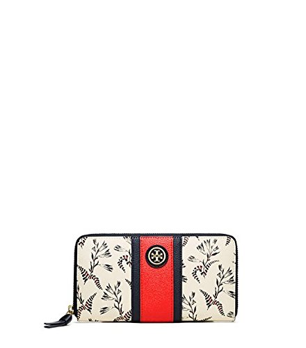 Tory Burch Kerrington Zip Continental Wallet Cape Floral New Ivory New