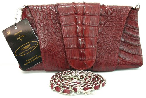 100% Genuine Crocodile Hornback to BIG Tail Leather Clutch Handbag Purse Rad