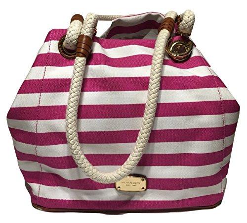 Michael Kors Marina Large Grab Bag Fuschia/White Striped Canvas Tote