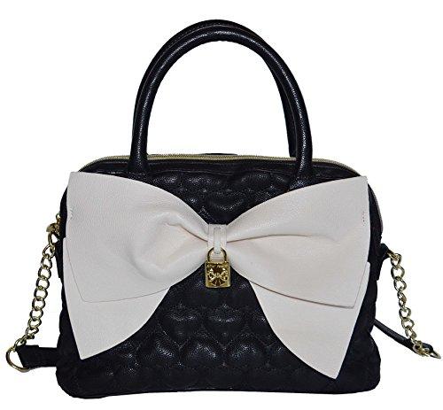 Betsey Johnson Be Mine Bow Dome Satchel Tote Satchel Purse Shoulder Bag Handbag Black