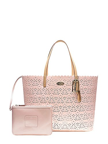 Coach Metro Eyelet Leather Tote Bag W Wristlet F27544 Shell Pink