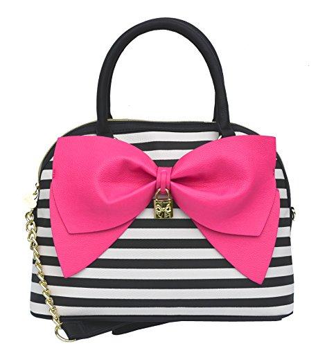 Betsey Johnson Bow Nanza Dome Satchel Handbag, Stripe