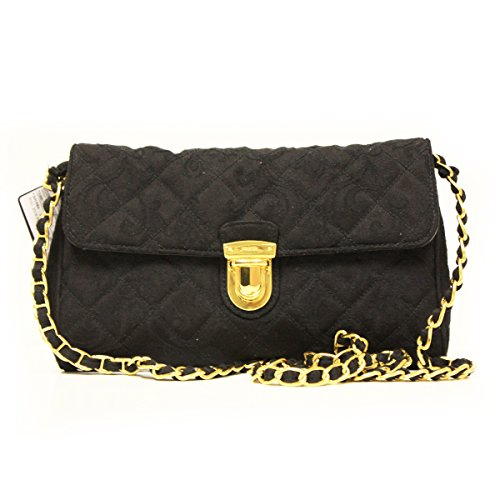 Prada BP0584 Nero Tessuto Impuntu Pattina Black Quilted Nylon and Leather Chain Bag