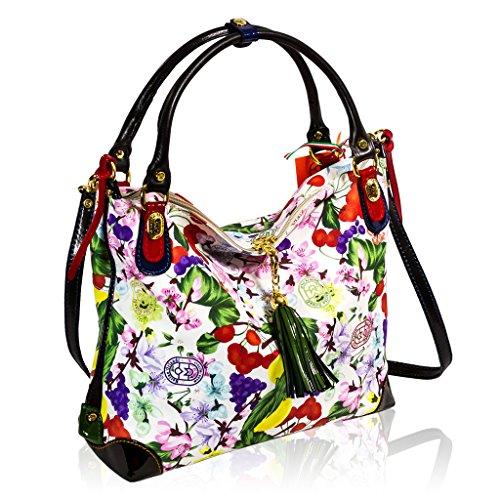 Marino Orlandi Italian Designer Floral Printed White Leather Large Slouchy Bag