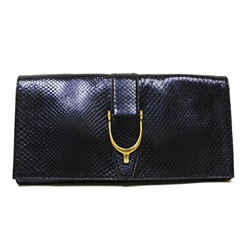 Gucci Soft Stirrup Blue Python Leather Oversized Clutch 304719 E3B0T