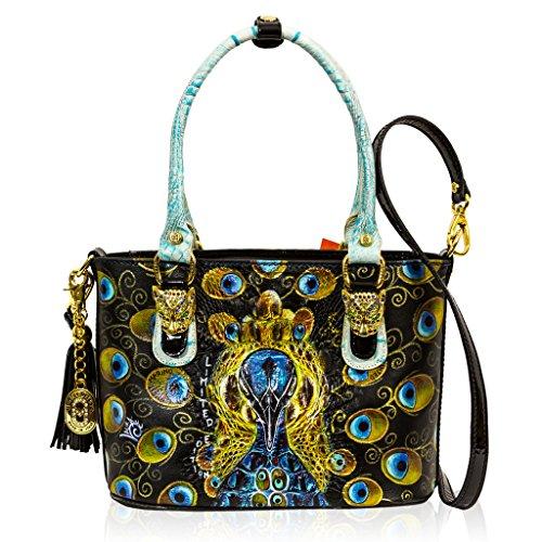 Marino Orlandi Italian Designer MAJESTIC PEACOCK Handpainted Leather Tote Bag