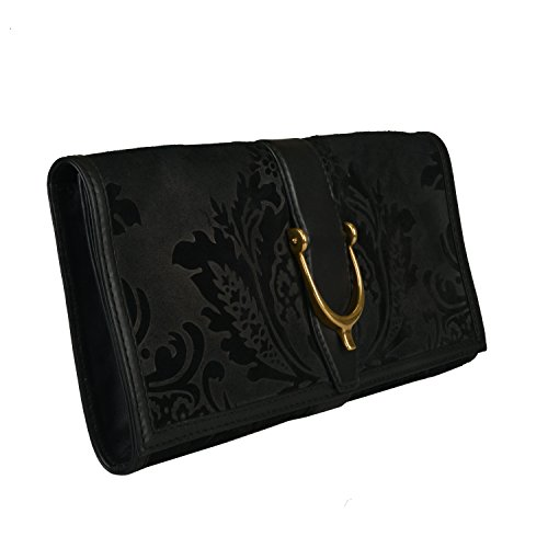 Gucci Women's Black Suede Leather Clutch Handbag Bag