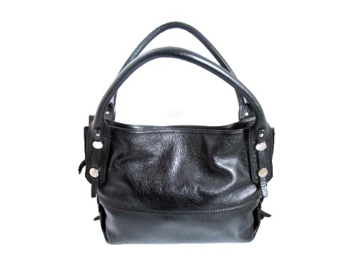 Women's Italian Designer Gironacci Hobo Handbag, Shoulder Rolled Handle Style 380 Medum Size Black