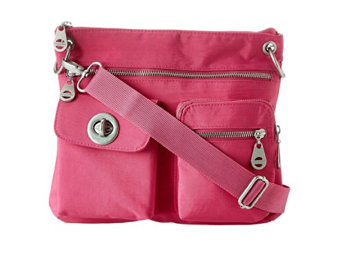 Baggallini Sydney Crossbody Shoulder Bag with Removable Zip Wallet Blossom Pink