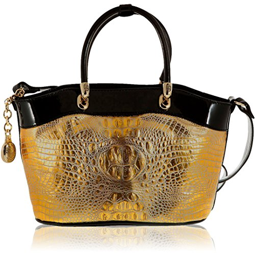 Marino Orlandi Italian Designer Gold Alligator Leather Satchel Crossbody Bag