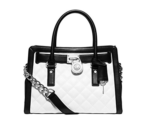 Michael Kors Hamilton Quilted East West Satchel Optic White/Black/Silver