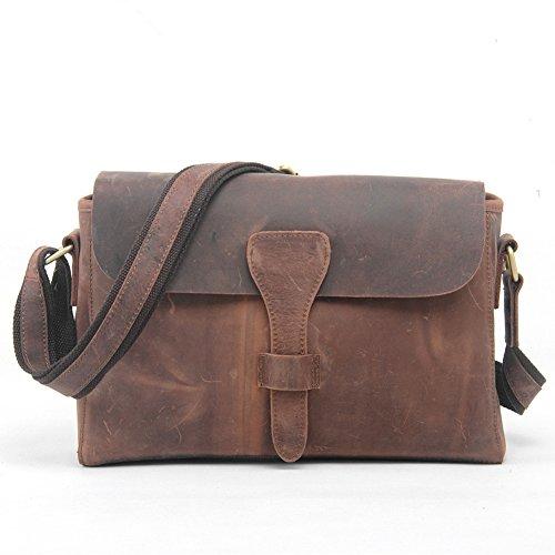 Handmade Retro Vintage Style Unisex 100% Genuine Auth Real Leather Messenger Bag for Laptop Briefcase Satchel