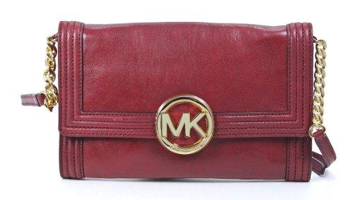 MICHAEL Michael Kors Fulton Bombe Clutch Leather Crossbody Handbag Cinnabar Red