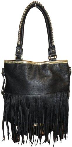 Steve Madden Women's Large Tote Handbag (Black/Gold)