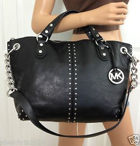 Michael Kors Black Astor Leather Studded Large Tote Satchel Bag with Silver Hardware