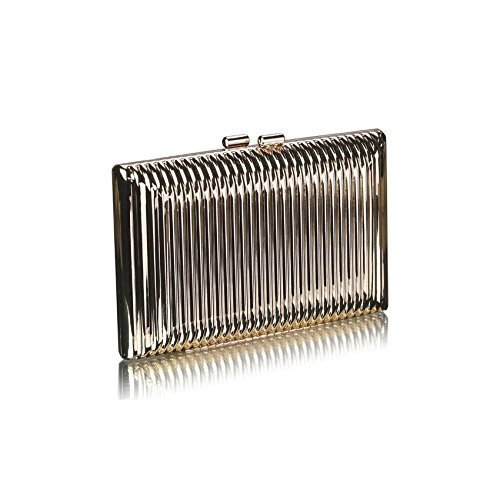 Ladies Gold Solid Metal Hard Case Clutch Bag Evening Handbag KCMODE