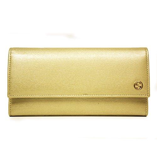 Gucci Leather Continental Wallet w/Interlocking G Gold 309714