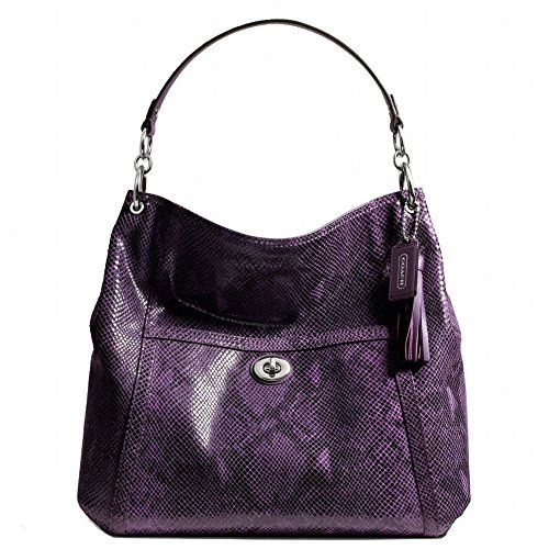 New Authentic COACH Large Parker Exotic Purple Python Embossed Leather Hobo Shoulder Bag