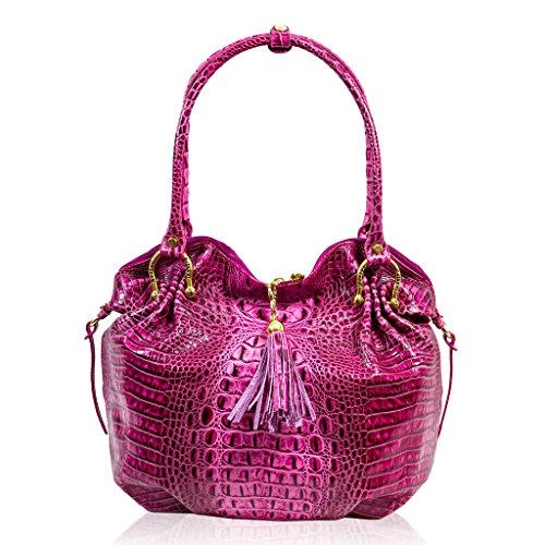 Marino Orlandi Italian Designer Pink Alligator Leather Large Slouchy Purse Bag