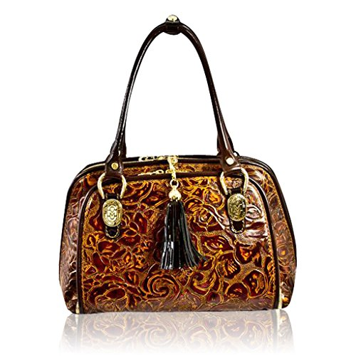Marino Orlandi Designer Bronze Rose Embossed Leather Purse Structured Bag