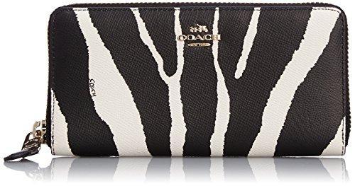 Coach Accordion Zip Wallet Zebra Embossed Leather, One size