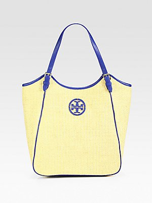 Tory Burch Slouchy Tote (Natural Straw & Blue Nile Leather Trim)