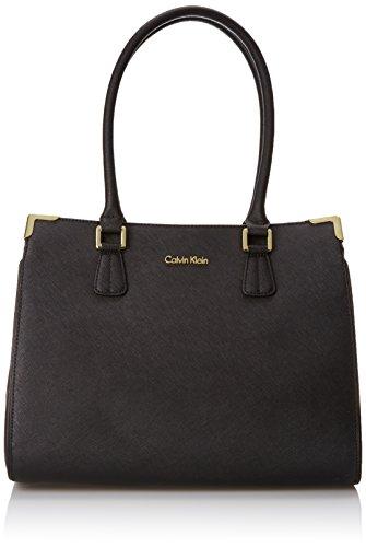 Calvin Klein Saffiano Satchel Shoulder Bag, Black, One Size