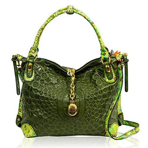 Marino Orlandi Italian Designer Green Sun Ray Monogram Leather Large Crossbody Bag