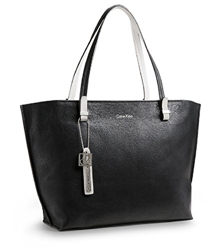 Calvin Klein Womens Haley City Shopper Tote Bag Handbag (Black)