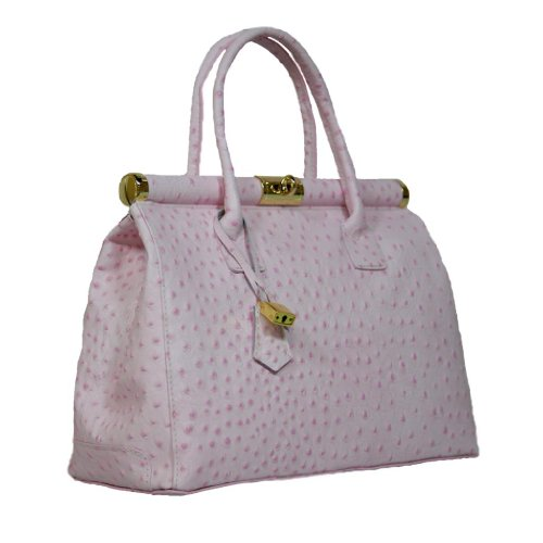 HS 1205 RA MINERVA Made in Italy Ostrich Embossed Light Pink Structured Top Handle