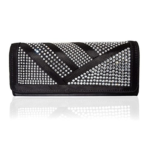 Unique Black Satin Clutch Bag with Silver Tone Studs and Clear Rhinestones Chain