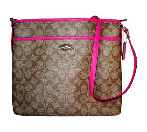 Coach Signature File Bag 34938 Khaki/Pink Ruby