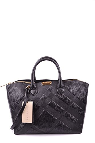 Burberry Dewsbury Black Leather Embossed Check Medium Tote