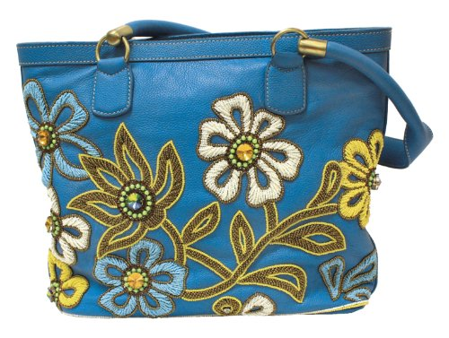 Mary Frances Periwinkle Garden Handbag