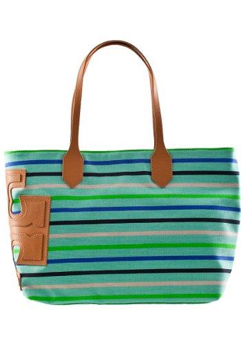 Tory Burch Stacked 'T' Striped Tote Mint Multi Fabric