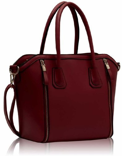 Womens Red Burgundy Zip Design Tote Bag Leather Style Handbag KCMODE