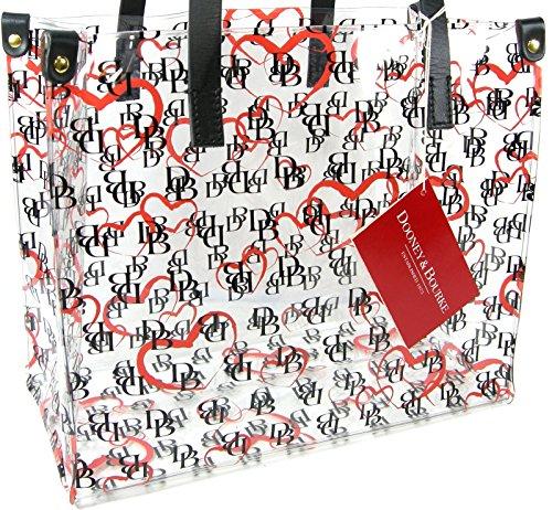 065e8815dbb Dooney   Bourke DB Logo Clear Tote Hand Bag Purse Medium Shopper Heart Black
