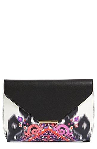 Emilio Pucci Newton Calfskin Leather Envelope Clutch Black White Pink New