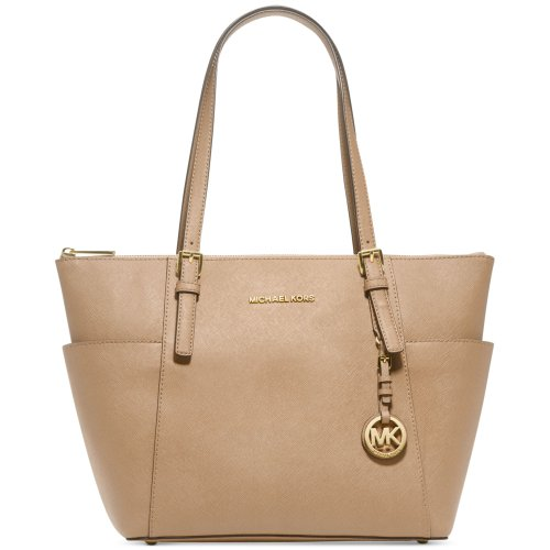 Michael Kors Jet Set Top Zip Saffiano Tote – Khaki