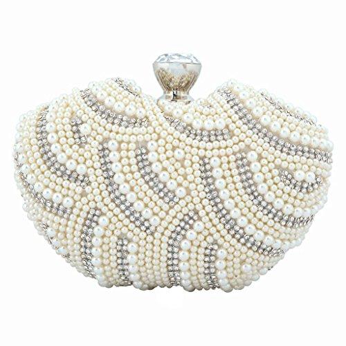 Yahoho Women's Wedding Apple Shape Evening Bag Party Handbag Clear Austrian Crystal Simulated Pearl