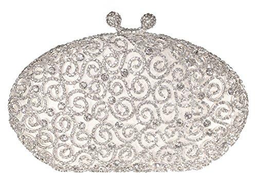 Scroll Luxury Crystal Hard Case Evening Clutch Handbag with Detachable Chain, Silver